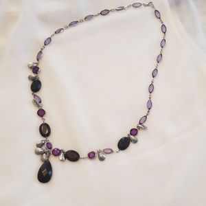 Beatiful purple and silver beaded necklace